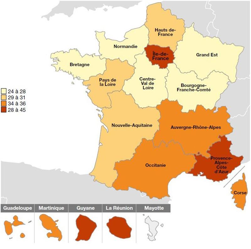 Part du prix du terrain dans le coût total selon les régions en 2018.