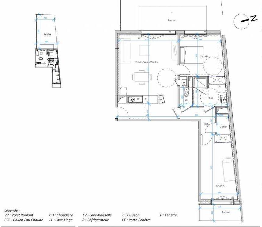 Plan 0.02, appartement neuf type T3 au Rez de chaussée, orienté Ouest faisant 71m² du programme neuf Les Jardins des Docks à Le Havre.