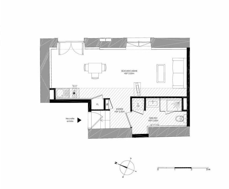 Plan 0.1, appartement neuf type T1 au Rez de chaussée, faisant 31m² du programme neuf LE DOMAINE SAINT-LOUIS à Chalon-sur-Saône.
