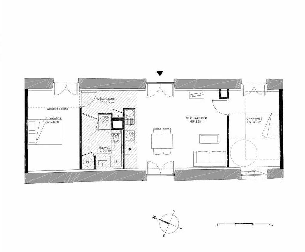 Plan 0.2, appartement neuf type T3 au Rez de chaussée, faisant 58m² du programme neuf LE DOMAINE SAINT-LOUIS à Chalon-sur-Saône.