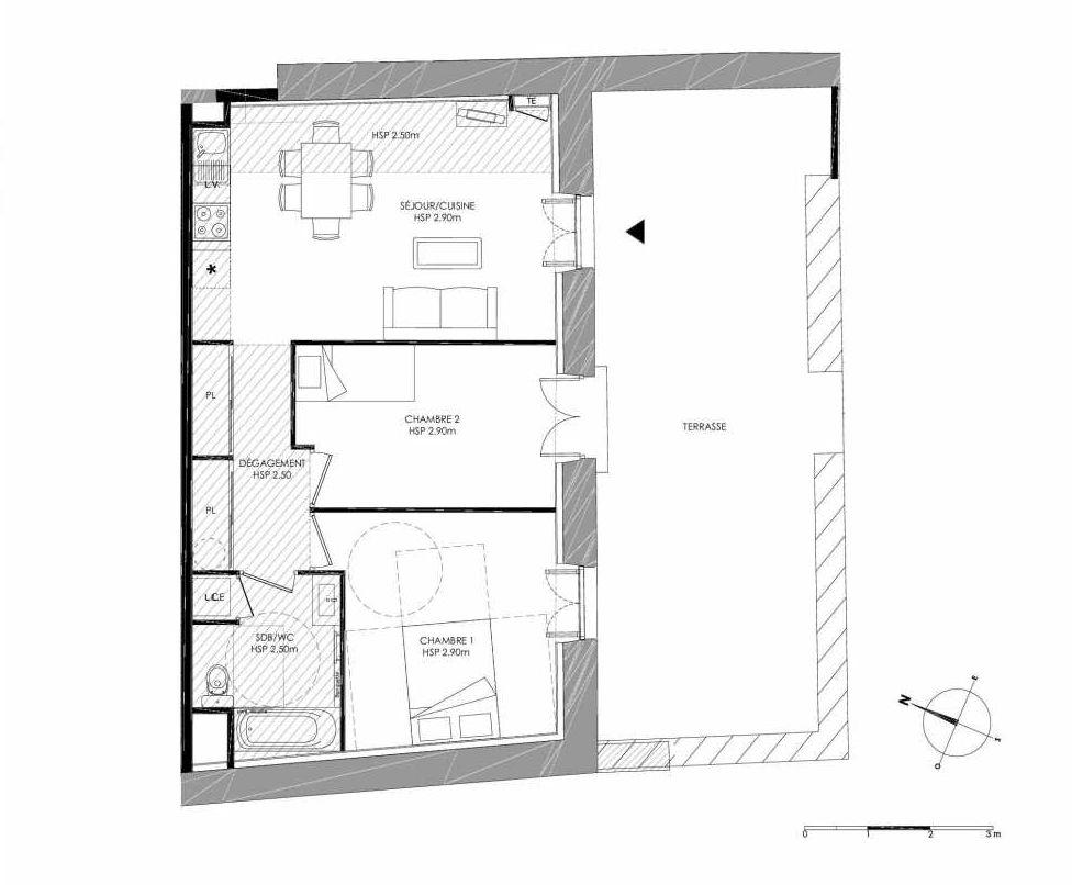 Plan 0.3, appartement neuf type T3 au Rez de chaussée, faisant 57m² du programme neuf LE DOMAINE SAINT-LOUIS à Chalon-sur-Saône.