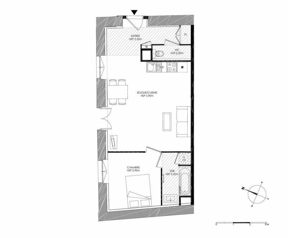Plan 0.4, appartement neuf type T2 au Rez de chaussée, faisant 50m² du programme neuf LE DOMAINE SAINT-LOUIS à Chalon-sur-Saône.