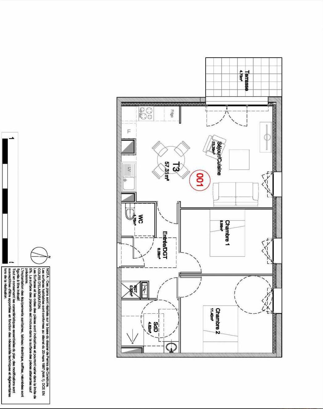 Plan 001, appartement neuf type T3 au Rez de jardin, orienté Ouest faisant 57m² du programme neuf 194 OUEST AVENUE à Déville-lès-Rouen.