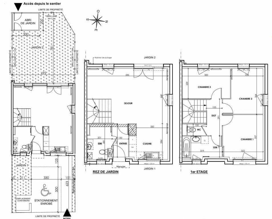 Plan 001, appartement neuf type T4 au Rez de chaussée, orienté Ouest faisant 83m² du programme neuf BEAU SEJOUR à Tourcoing.