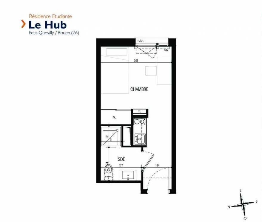 Plan 001, appartement neuf type T1 au Rez de chaussée, faisant 17m² du programme neuf Le Hub à Le Petit-Quevilly.
