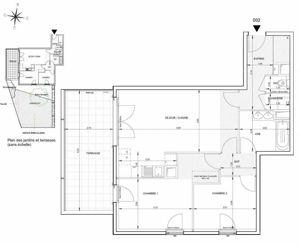 Plan 002, appartement neuf type T3 au Rez de jardin, orienté Ouest faisant 70m² du programme neuf 124 FONTENAILLE à Aix-en-Provence.