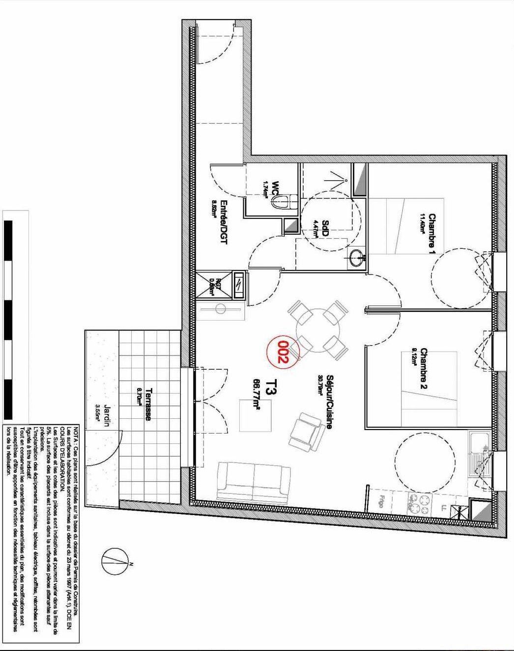 Plan 002, appartement neuf type T3 au Rez de jardin, orienté Sud faisant 67m² du programme neuf 194 OUEST AVENUE à Déville-lès-Rouen.