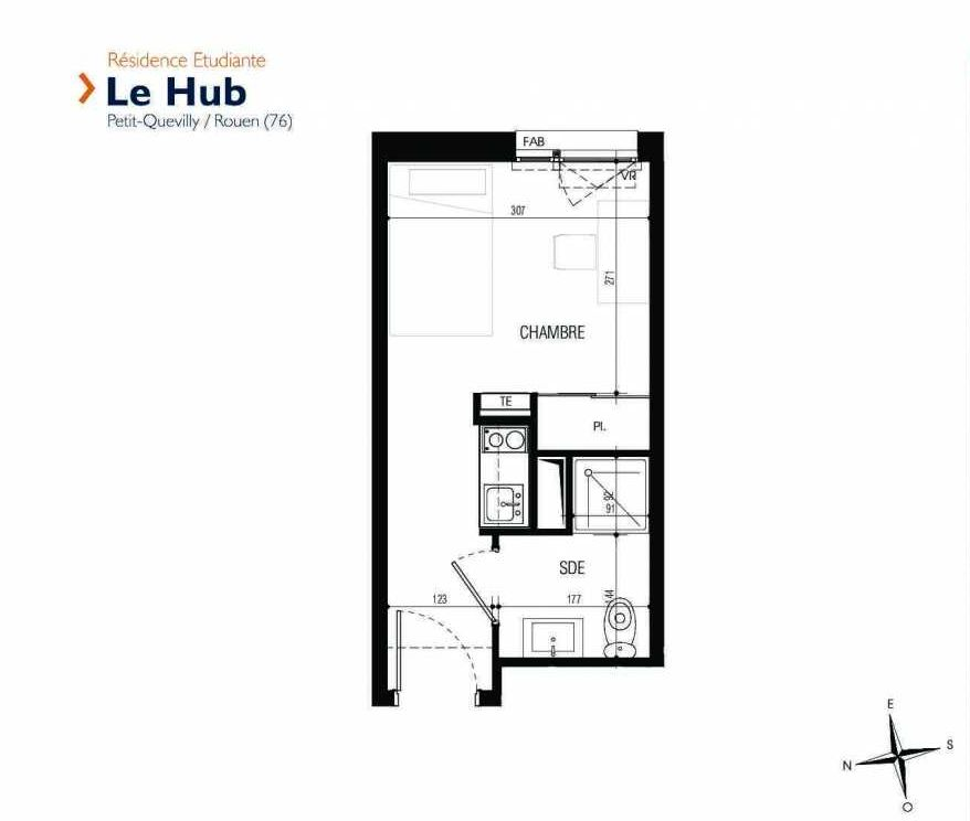 Plan 002, appartement neuf type T1 au Rez de chaussée, faisant 17m² du programme neuf Le Hub à Le Petit-Quevilly.