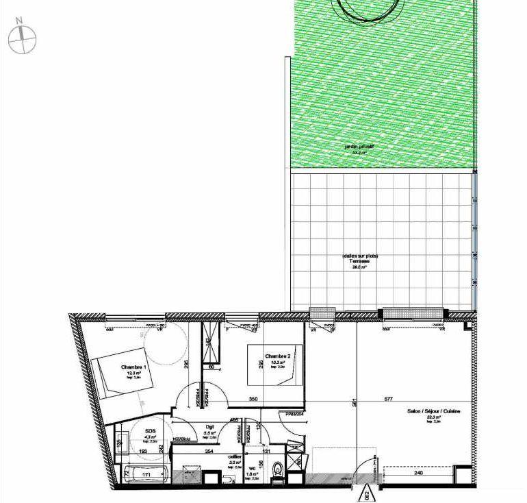Plan 002, appartement neuf type T3 au Rez de chaussée, orienté Nord faisant 70m² du programme neuf VILLA DES PINS à Les Sables-d'Olonne.