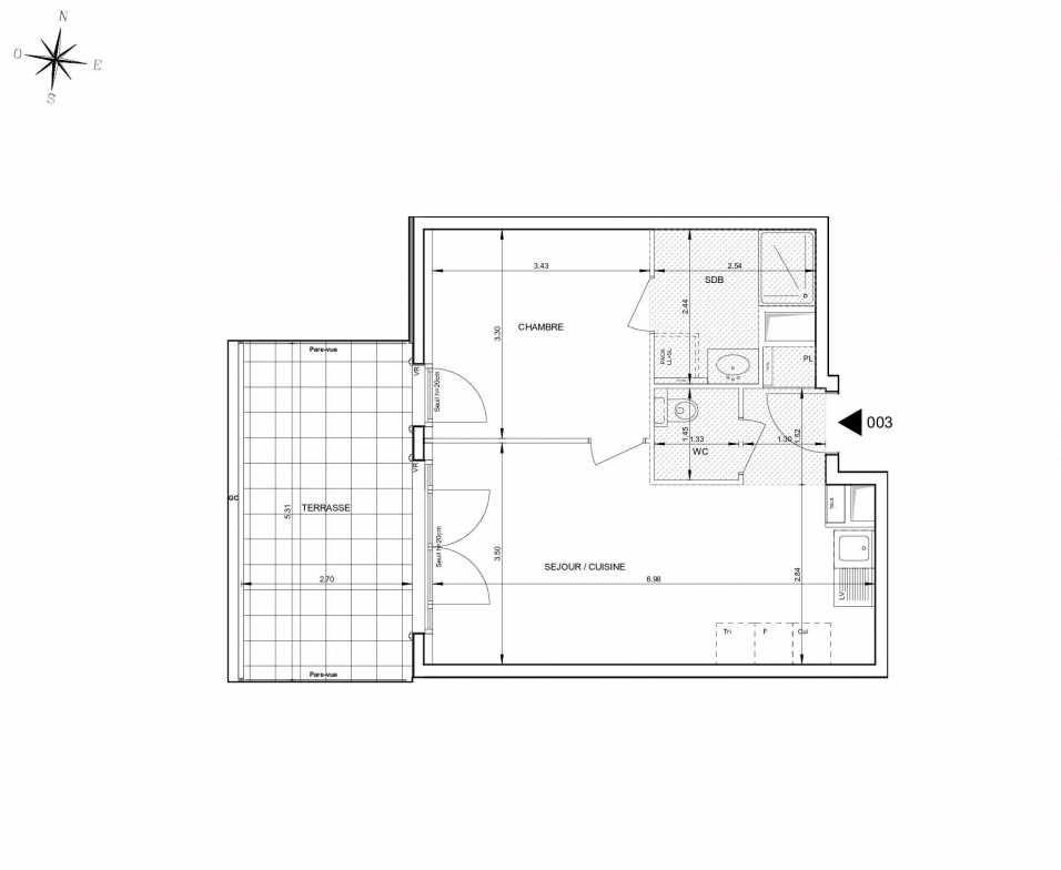Plan 003, appartement neuf type T2 au Rez de jardin, orienté Ouest faisant 42m² du programme neuf 124 FONTENAILLE à Aix-en-Provence.