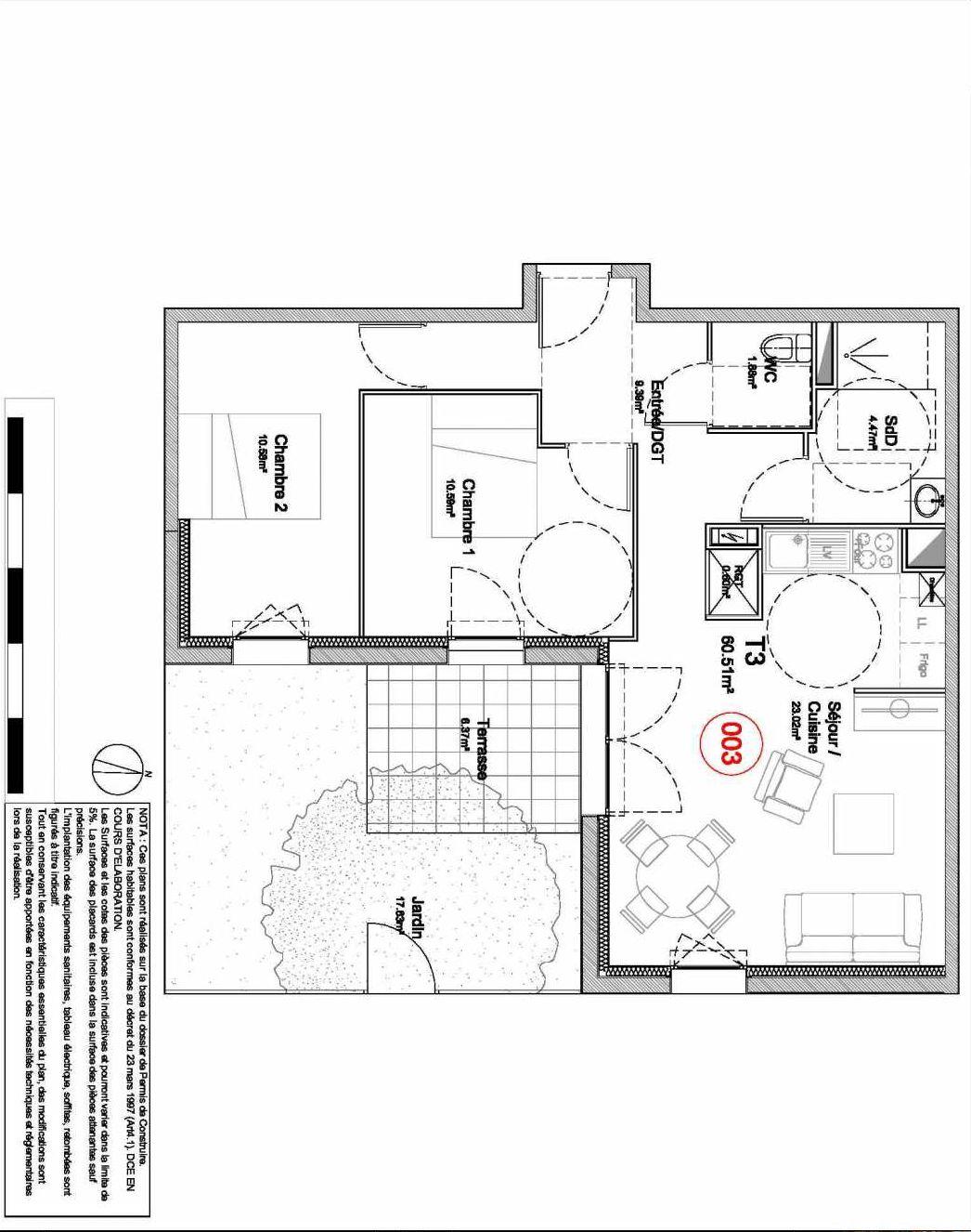 Plan 003, appartement neuf type T3 au Rez de jardin, orienté Sud faisant 61m² du programme neuf 194 OUEST AVENUE à Déville-lès-Rouen.