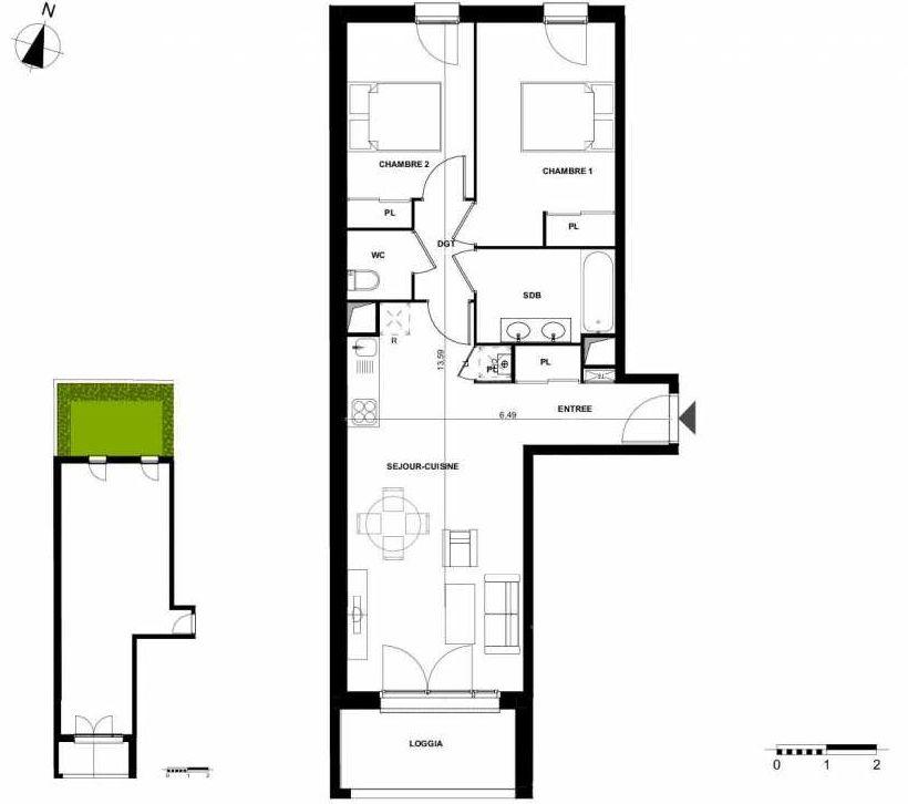Plan 003, appartement neuf type T3 au Rez de chaussée, orienté Sud faisant 63m² du programme neuf AIRIAL à Cenon.