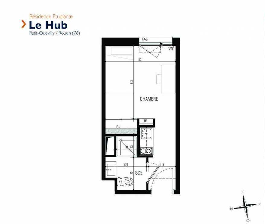 Plan 003, appartement neuf type T1 au Rez de chaussée, faisant 17m² du programme neuf Le Hub à Le Petit-Quevilly.
