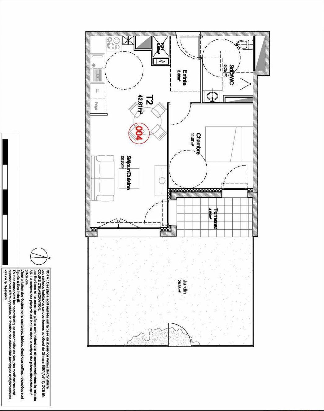 Plan 004, appartement neuf type T2 au Rez de jardin, orienté Est faisant 43m² du programme neuf 194 OUEST AVENUE à Déville-lès-Rouen.