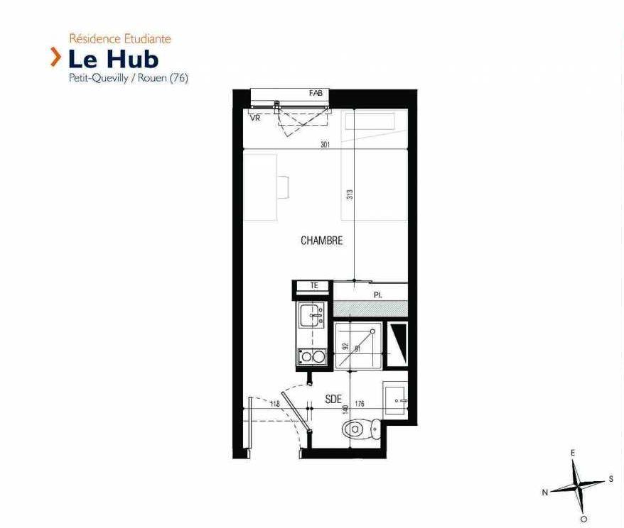Plan 004, appartement neuf type T1 au Rez de chaussée, faisant 17m² du programme neuf Le Hub à Le Petit-Quevilly.