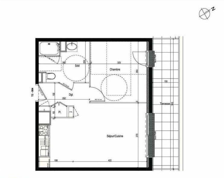 Plan 004, appartement neuf type T2 au Rez de chaussée, faisant 43m² du programme neuf Les Boréales à Rouen.