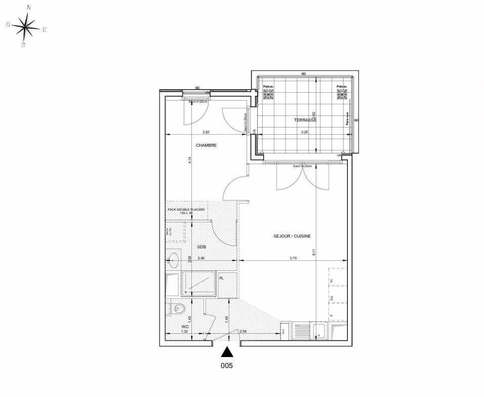 Plan 005, appartement neuf type T2 au Rez de jardin, orienté Nord faisant 43m² du programme neuf 124 FONTENAILLE à Aix-en-Provence.