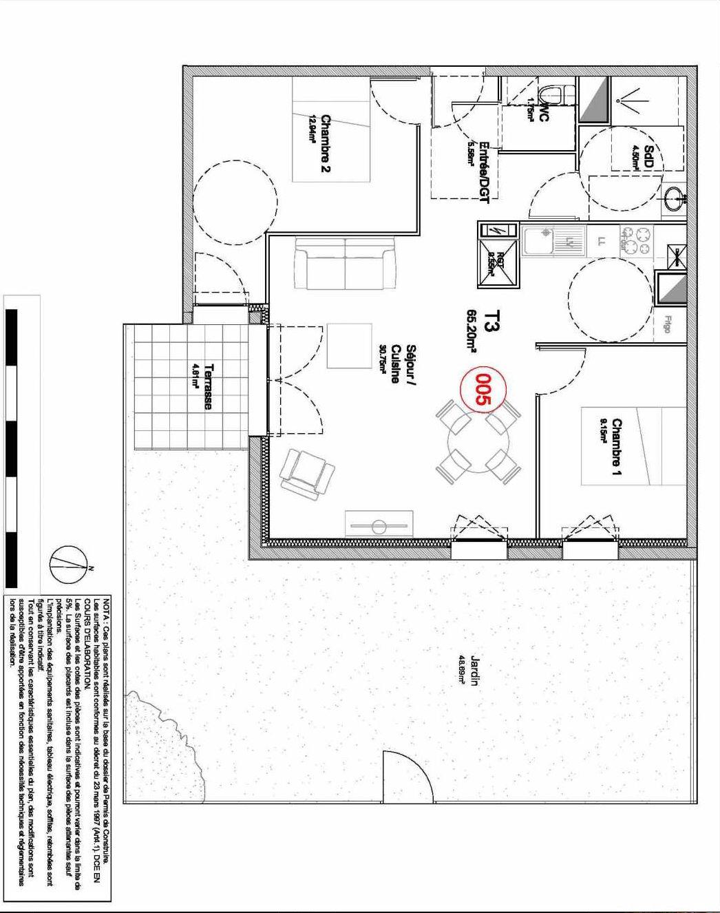 Plan 005, appartement neuf type T3 au Rez de jardin, orienté Sud faisant 65m² du programme neuf 194 OUEST AVENUE à Déville-lès-Rouen.