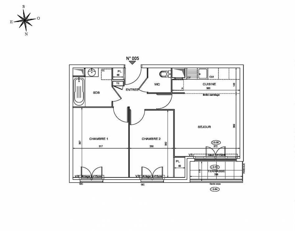 Plan 005, appartement neuf type T3 au Rez de chaussée, orienté Nord faisant 53m² du programme neuf Le Clos Saint-Louis à Saint-Cyr-l'École.