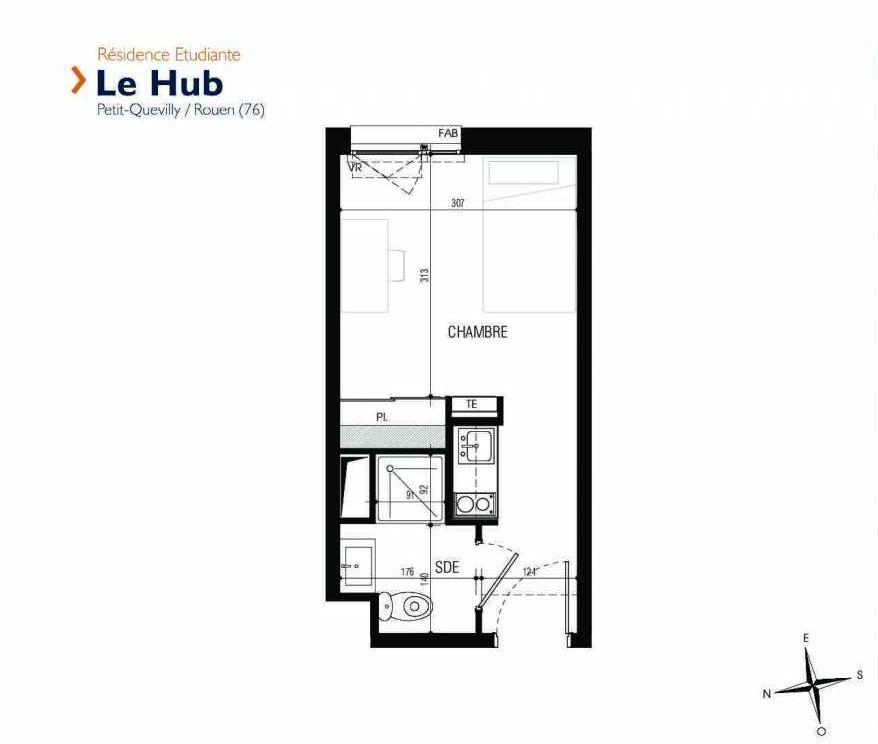 Plan 005, appartement neuf type T1 au Rez de chaussée, faisant 18m² du programme neuf Le Hub à Le Petit-Quevilly.