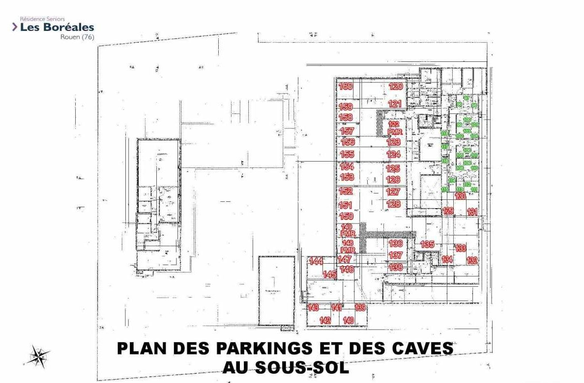 Plan 005, appartement neuf type T2 au Rez de chaussée, faisant 45m² du programme neuf Les Boréales à Rouen.