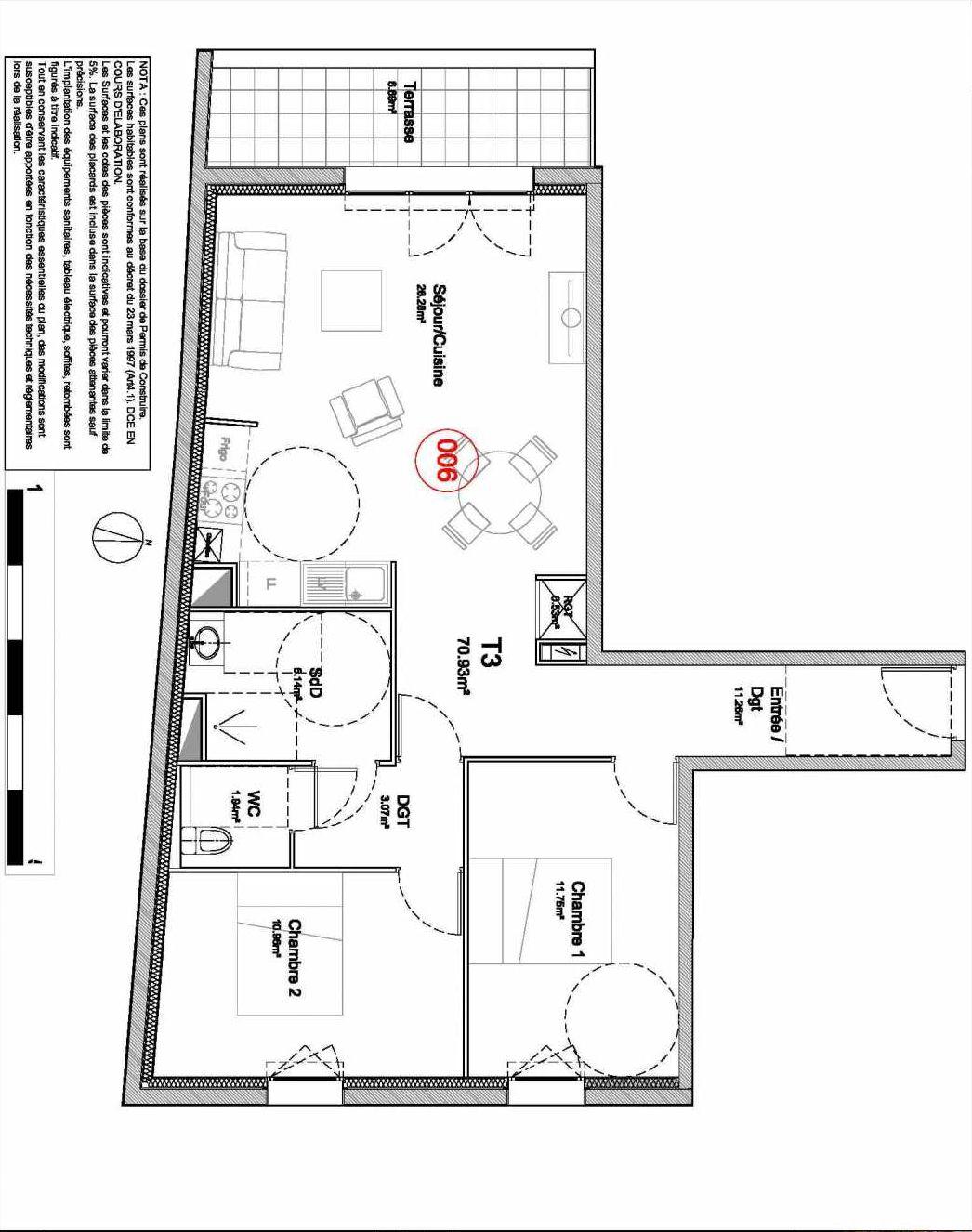 Plan 006, appartement neuf type T3 au Rez de jardin, orienté Ouest faisant 71m² du programme neuf 194 OUEST AVENUE à Déville-lès-Rouen.