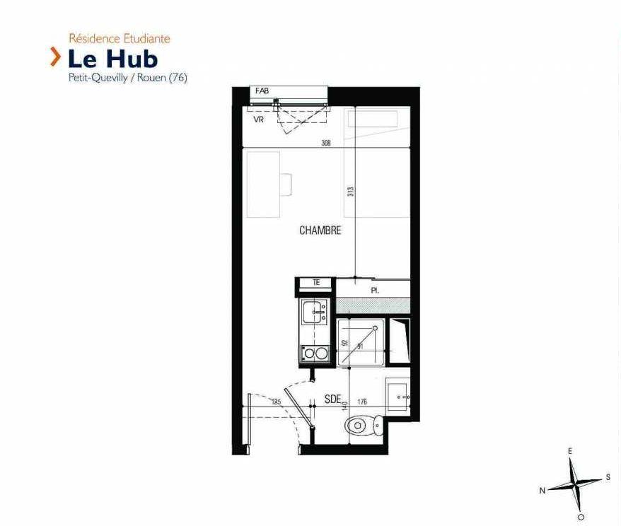 Plan 006, appartement neuf type T1 au Rez de chaussée, faisant 18m² du programme neuf Le Hub à Le Petit-Quevilly.