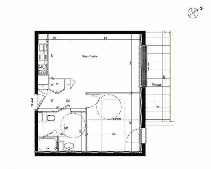 Plan 006, appartement neuf type T2 au Rez de chaussée, faisant 42m² du programme neuf Les Boréales à Rouen.