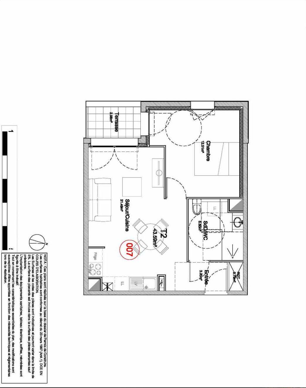 Plan 007, appartement neuf type T2 au Rez de jardin, orienté Ouest faisant 44m² du programme neuf 194 OUEST AVENUE à Déville-lès-Rouen.