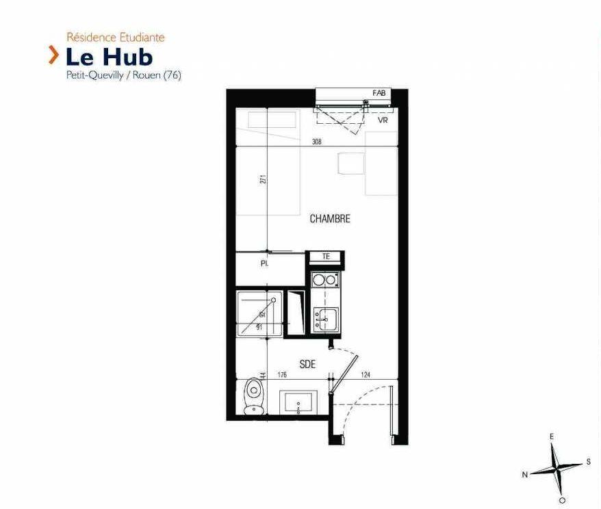 Plan 007, appartement neuf type T1 au Rez de chaussée, faisant 17m² du programme neuf Le Hub à Le Petit-Quevilly.