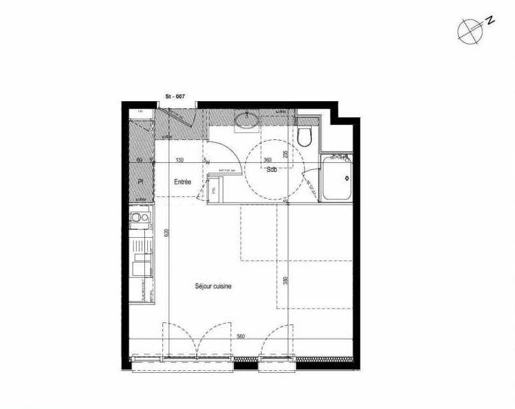 Plan 007, appartement neuf type T1 au Rez de chaussée, faisant 33m² du programme neuf Les Boréales à Rouen.