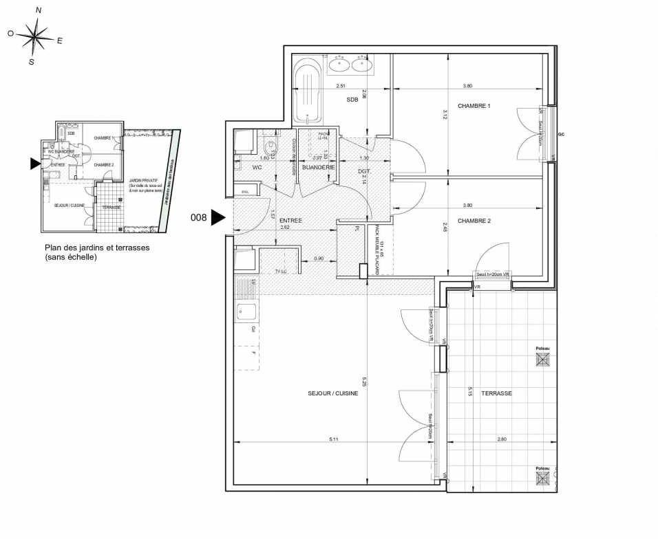 Plan 008, appartement neuf type T3 au Rez de jardin, orienté Est faisant 66m² du programme neuf 124 FONTENAILLE à Aix-en-Provence.