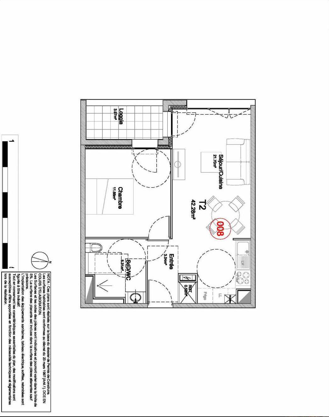 Plan 008, appartement neuf type T2 au Rez de jardin, orienté Ouest faisant 42m² du programme neuf 194 OUEST AVENUE à Déville-lès-Rouen.