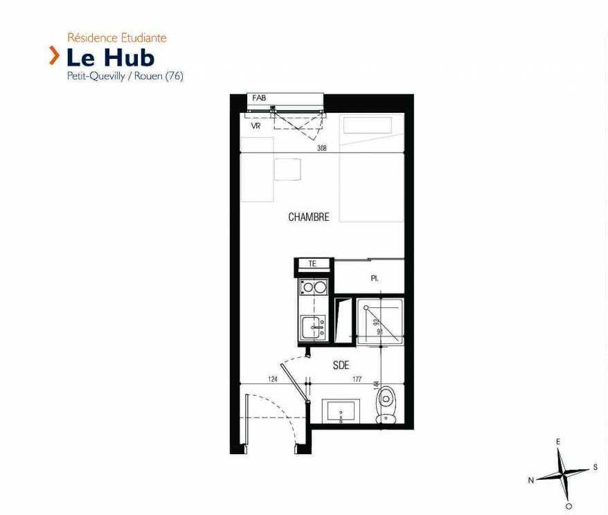 Plan 008, appartement neuf type T1 au Rez de chaussée, faisant 17m² du programme neuf Le Hub à Le Petit-Quevilly.