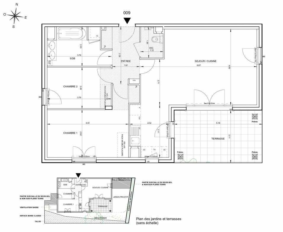 Plan 009, appartement neuf type T3 au Rez de jardin, orienté Sud faisant 76m² du programme neuf 124 FONTENAILLE à Aix-en-Provence.