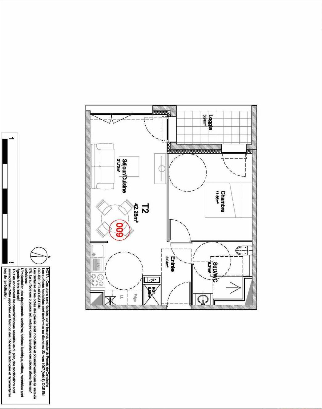 Plan 009, appartement neuf type T2 au Rez de jardin, orienté Ouest faisant 42m² du programme neuf 194 OUEST AVENUE à Déville-lès-Rouen.