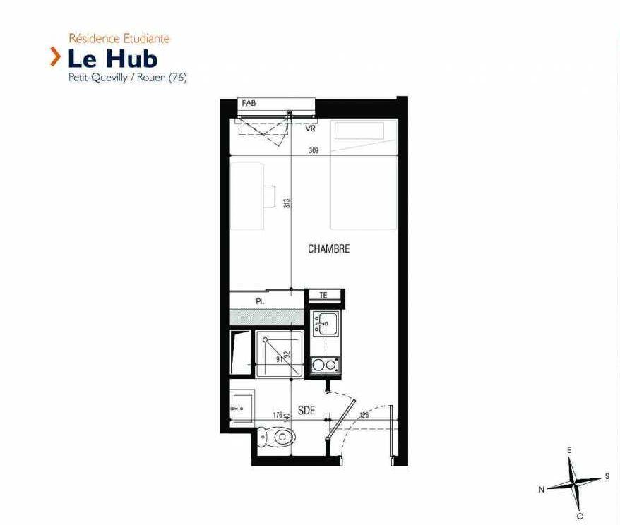 Plan 009, appartement neuf type T1 au Rez de chaussée, faisant 18m² du programme neuf Le Hub à Le Petit-Quevilly.