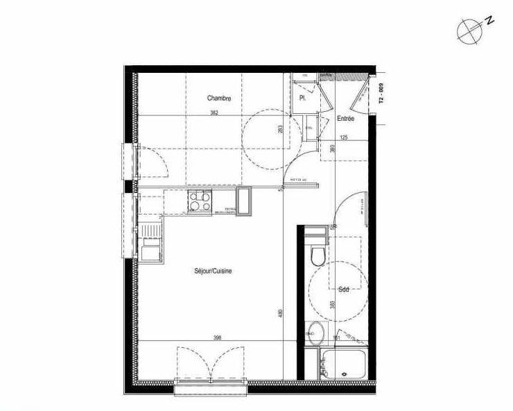 Plan 009, appartement neuf type T2 au Rez de chaussée, faisant 42m² du programme neuf Les Boréales à Rouen.
