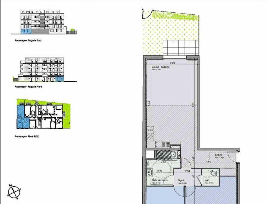 Plan 01, appartement neuf, orienté Nord faisant 79m² du programme neuf Greystone à Lille.