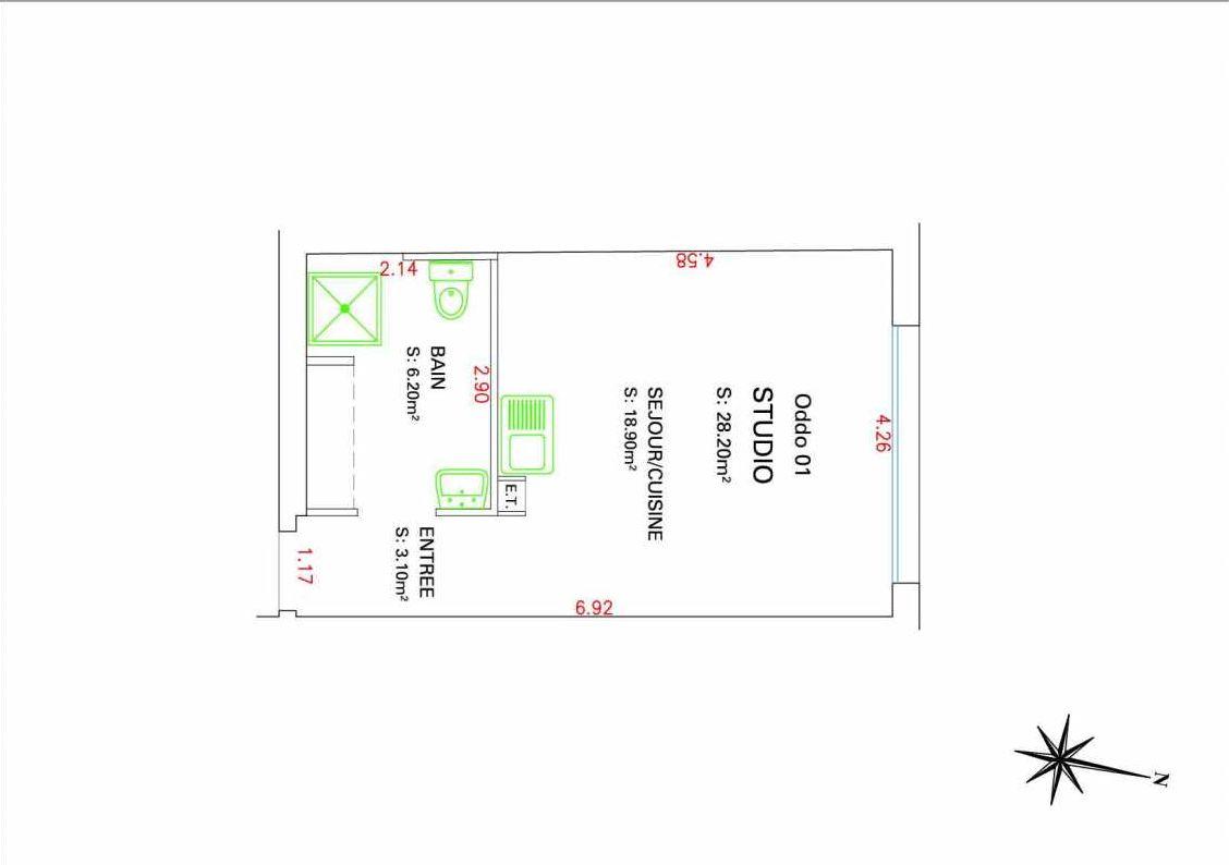 Plan 01, appartement neuf type T1 au Rez de chaussée, orienté Nord faisant 28m² du programme neuf VILLAGE MEDITERRANEE à Marseille.
