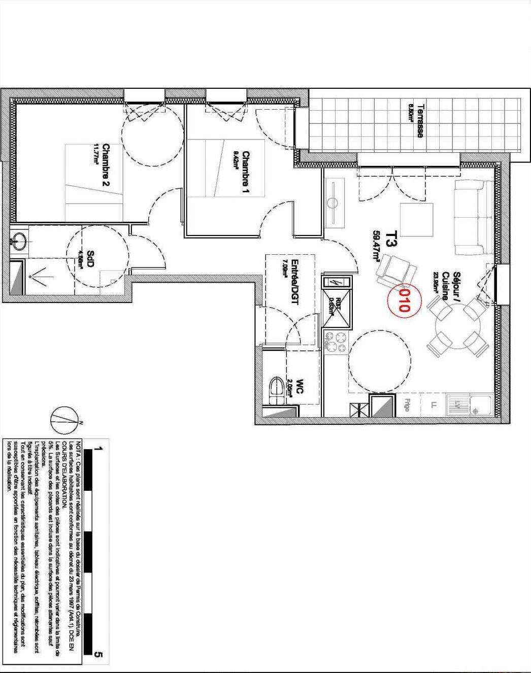 Plan 010, appartement neuf type T3 au Rez de jardin, orienté Ouest faisant 59m² du programme neuf 194 OUEST AVENUE à Déville-lès-Rouen.