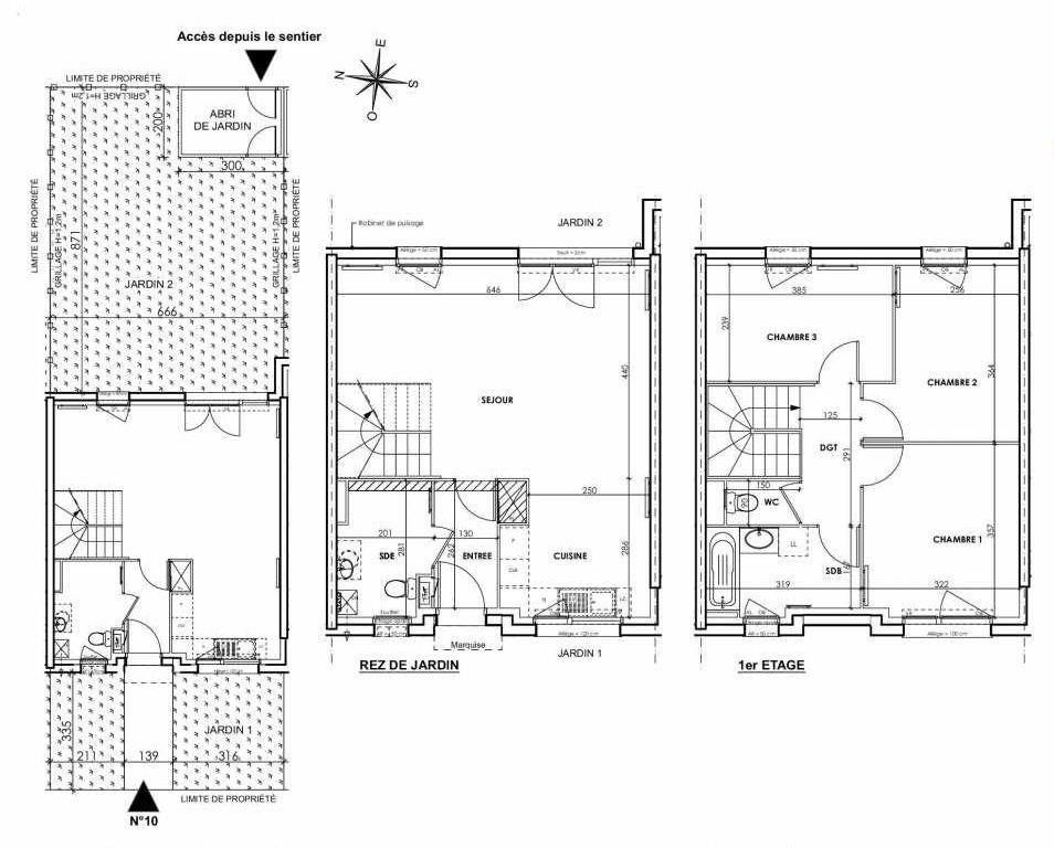 Plan 010, appartement neuf type T4 au Rez de chaussée, orienté Est faisant 83m² du programme neuf BEAU SEJOUR à Tourcoing.