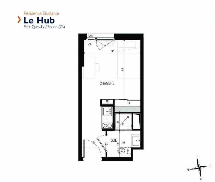 Plan 010, appartement neuf type T1 au Rez de chaussée, faisant 18m² du programme neuf Le Hub à Le Petit-Quevilly.