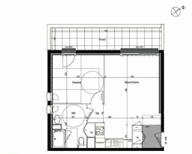 Plan 010, appartement neuf type T2 au Rez de chaussée, faisant 43m² du programme neuf Les Boréales à Rouen.