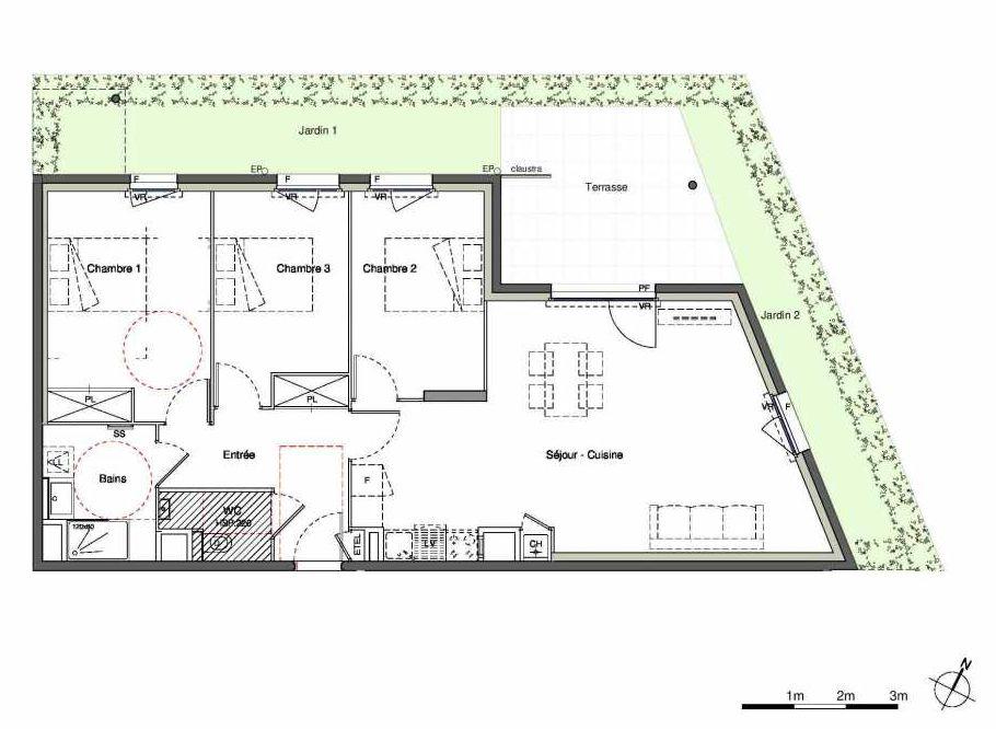Plan 010A01, appartement neuf type T4 au Rez de chaussée, orienté Nord faisant 85m² du programme neuf L'Echappée Belle à Lozanne.