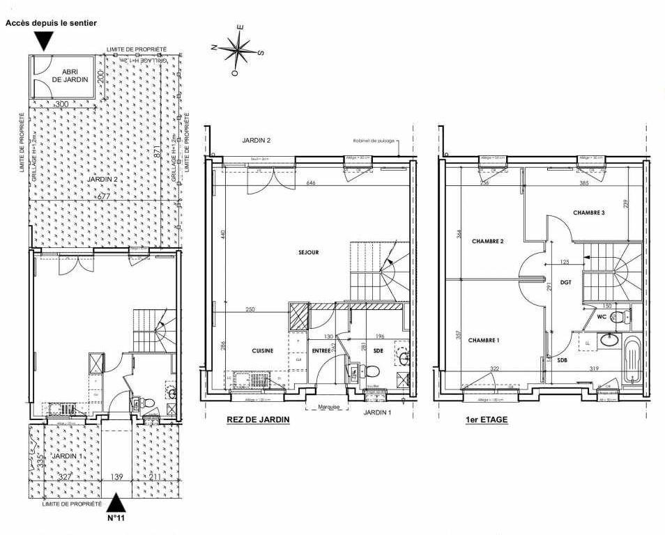 Plan 011, appartement neuf type T4 au Rez de chaussée, orienté Est faisant 83m² du programme neuf BEAU SEJOUR à Tourcoing.