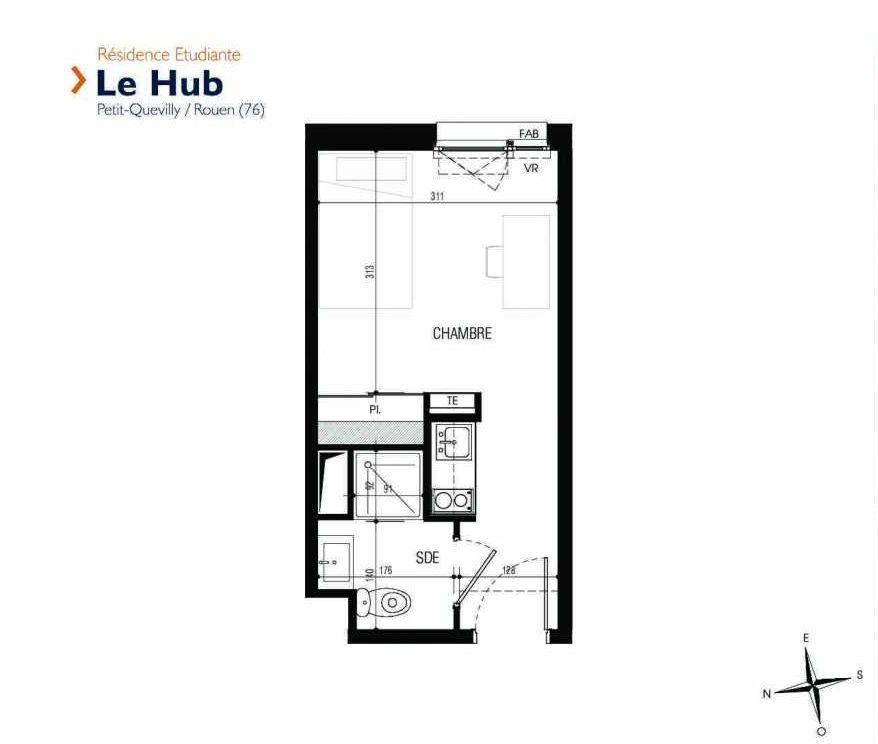 Plan 011, appartement neuf type T1 au Rez de chaussée, faisant 18m² du programme neuf Le Hub à Le Petit-Quevilly.