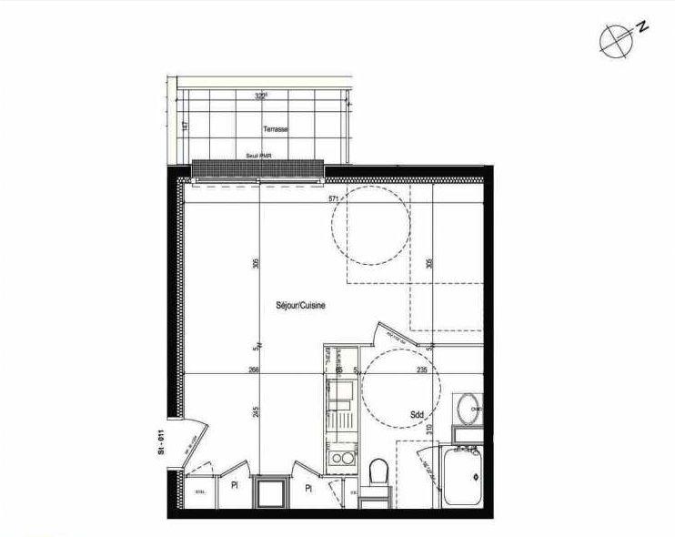 Plan 011, appartement neuf type T1 au Rez de chaussée, faisant 34m² du programme neuf Les Boréales à Rouen.