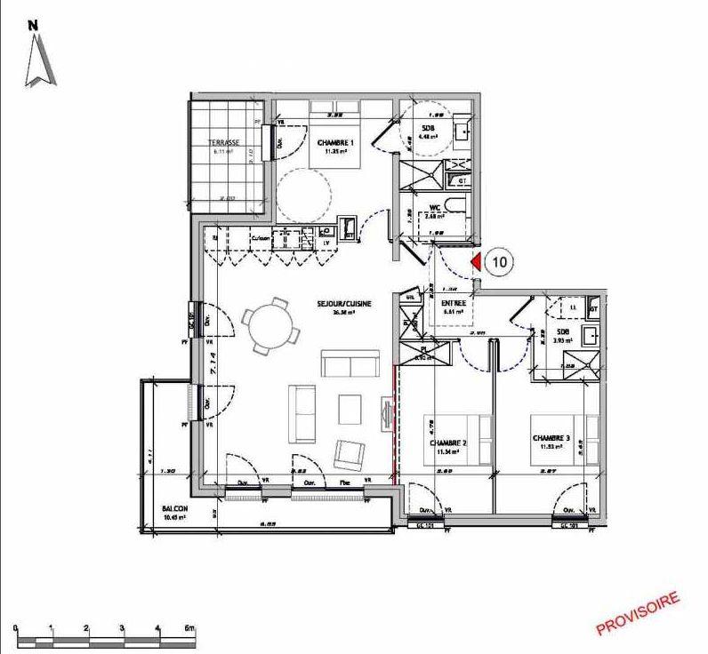 Plan 0110, appartement neuf type T4 au 1er étage, orienté Sud faisant 90m² du programme neuf Le 321 St Quentin à Amiens.