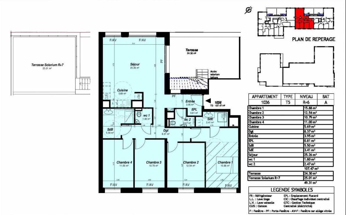 Plan 011036, appartement neuf type T5 au 6ème étage, orienté Sud faisant 107m² du programme neuf SymBio'Z à Nancy.